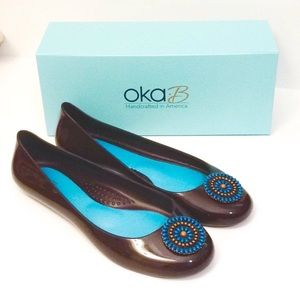 Oka-B Rider Ballet Flat, Chocolate w/Beaded Circle